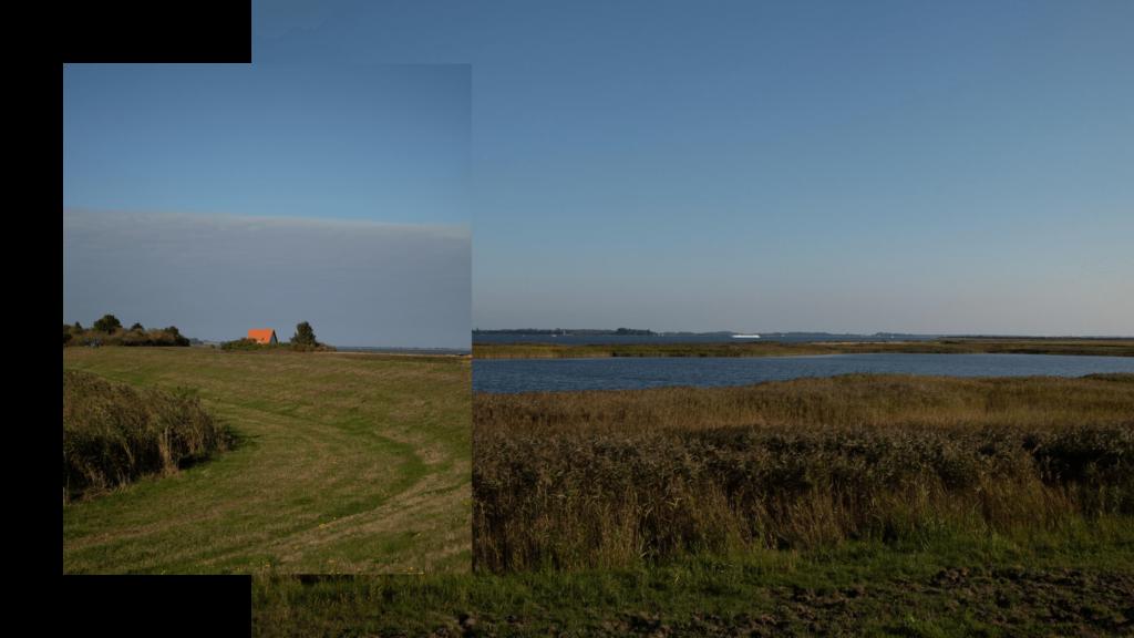 Wanderung auf Hiddensee im Herbst, Blick auf die Faehrinsel und in Richtung Vitte