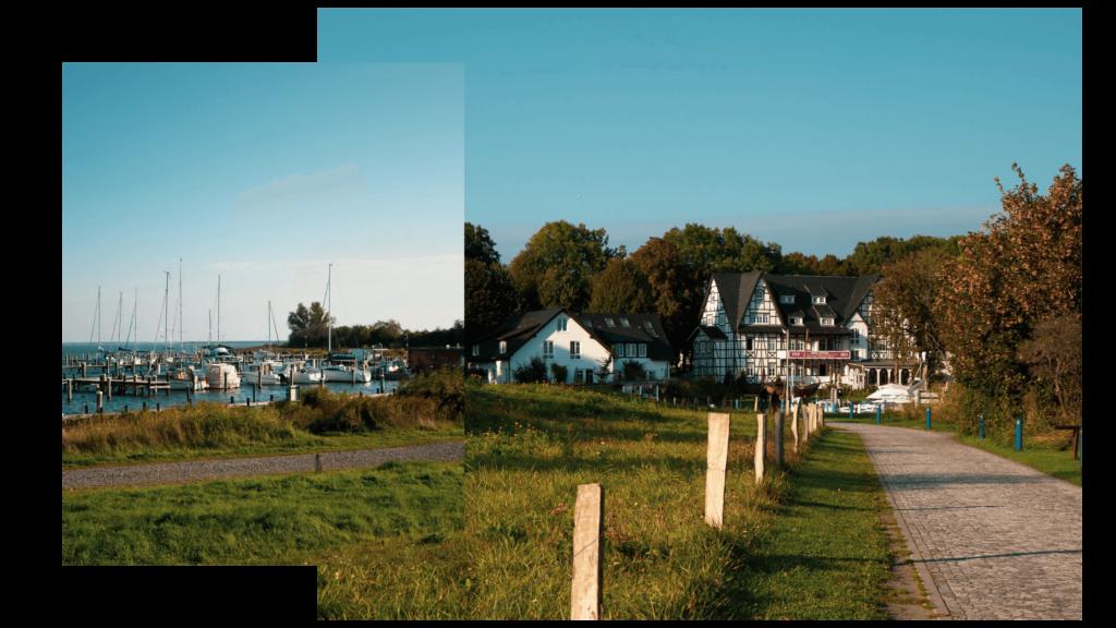 Wanderung auf Hiddensee im Herbst über den Deich, Blick auf das Hotel Hitthim